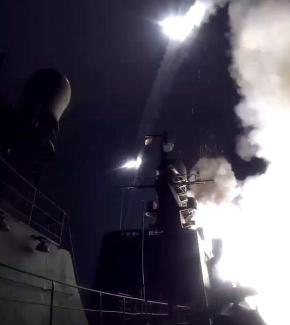 epa04967608 A handout frame grab taken from a video footage made available on the official website of the Russian Defence Ministry on 07 October 2015 shows a warship of the Caspian Flotilla launching missiles from the deployment area in the south-western Caspian Sea. According to information published on the official website of the Russian Defence Ministry, the warships of the Caspian Flotilla carried out massive strikes against Islamic State facilities in Syria by sea-based cruise missiles which passed through the airspace of Iran and Iraq and hit targets.  EPA/RUSSIAN DEFENCE MINISTRY PRESS S BEST QUALITY AVAILABLE HANDOUT EDITORIAL USE ONLY/NO SALES